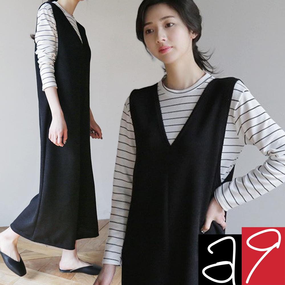 正韓 V領連身寬褲條紋T恤套裝-(灰色)a9