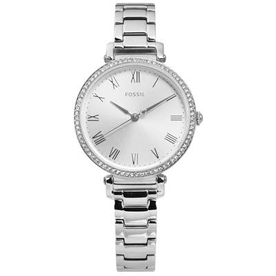 FOSSIL 典雅羅馬刻度 晶鑽鑲圈 礦石強化玻璃 不鏽鋼手錶-銀色/28mm