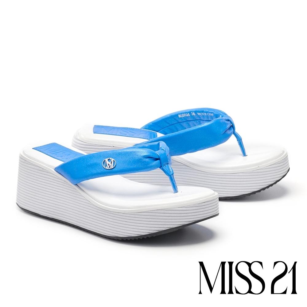 拖鞋 MISS 21 時髦復古超高堆疊層次羊皮人字厚底拖鞋-藍