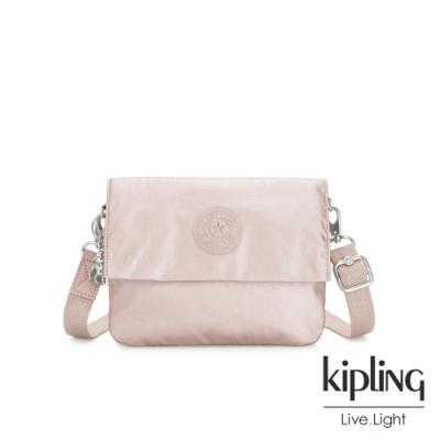 Kipling 優雅粉嫩紅翻蓋斜側背包-OSYKA