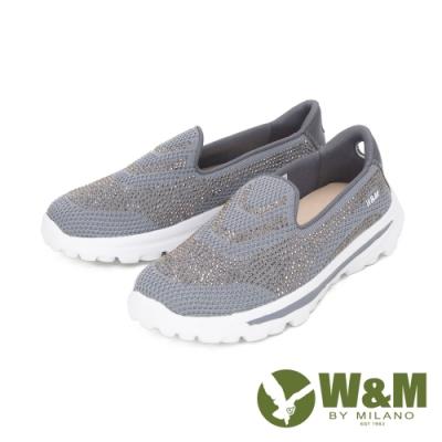 W&M (女)大圓頭亮鑽彈力厚底自尊鞋 樂福鞋 女鞋 - 灰(另有 藍.紫)