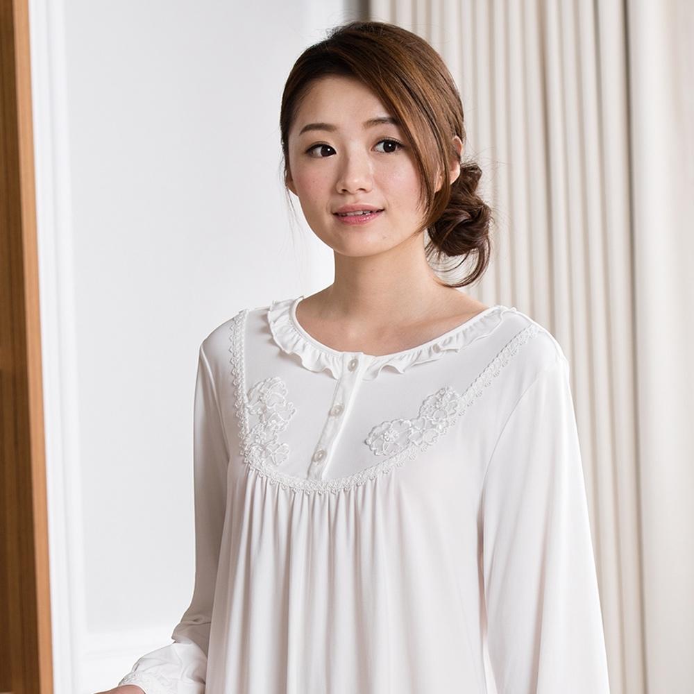 華歌爾睡衣-睡眠研究 M-L 長袖裙裝(白)柔膚手感