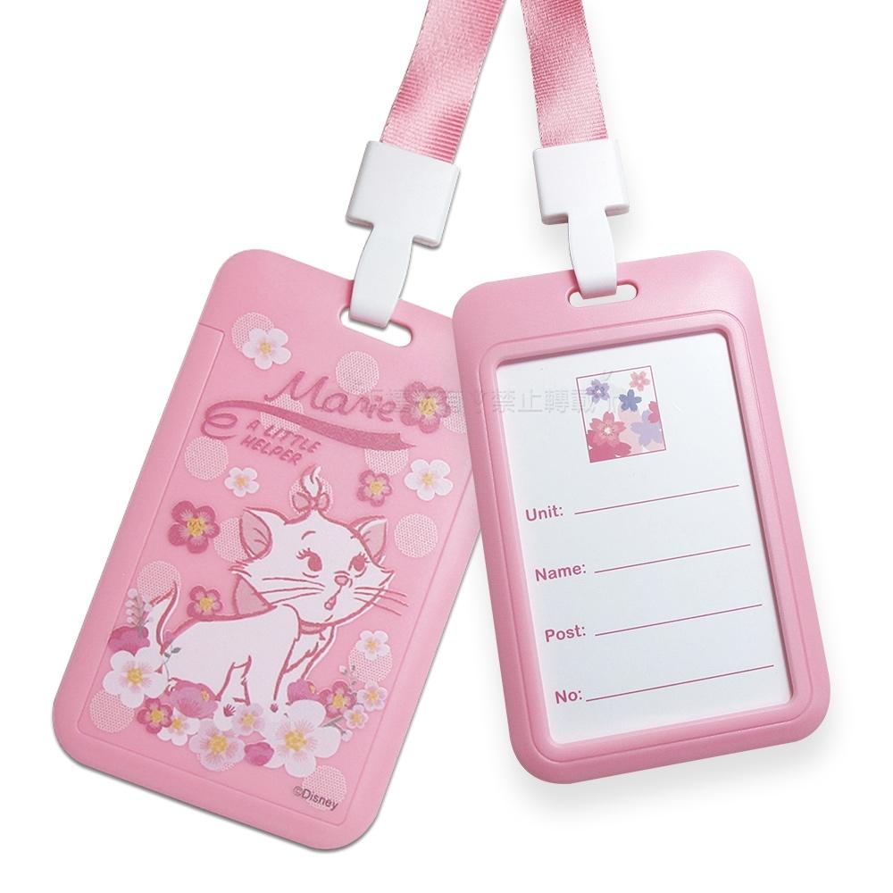迪士尼櫻花系列 頸掛硬式ID卡套 悠遊卡 識別證票卡夾(瑪麗貓)