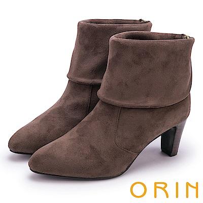 ORIN 經典儁永 復古反折麂皮布高跟短靴-咖啡