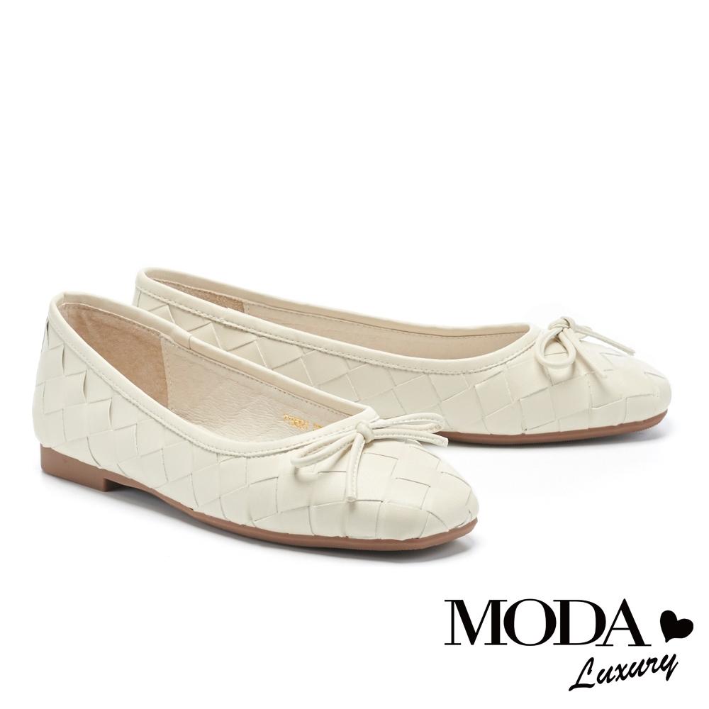 低跟鞋 MODA Luxury 舒適優雅蝴蝶結編織造型方頭娃娃低跟鞋-白