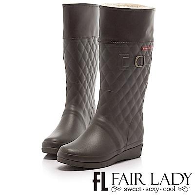 Fair Lady 菱格紋舖毛2way雨靴 咖