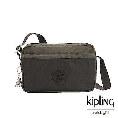 Kipling 簡約橄欖綠色拉鍊式口袋休閒斜背包-URSINA