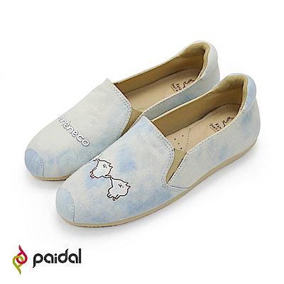 Paidal x 卡娜赫拉的小動物 喵喵喵咪單寧款樂福鞋-白灰藍