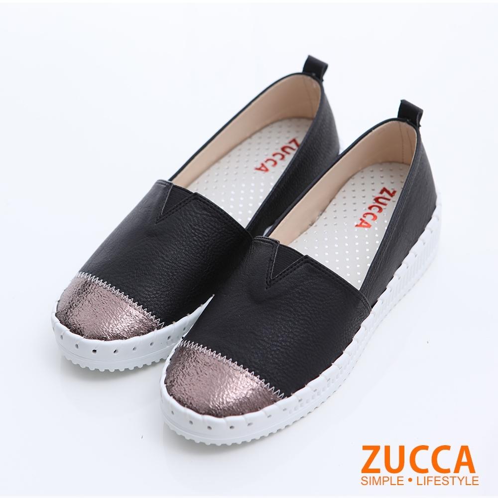 ZUCCA-雙拼色塊圓頭平底鞋-黑-z6316bk
