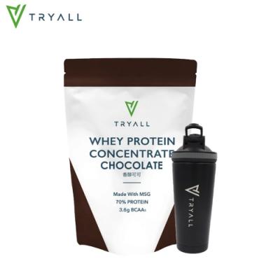[台灣 Tryall] 雙層不鏽鋼搖搖杯(600ml) 消光黑+濃縮乳清蛋白(500公克/包)-香醇可可