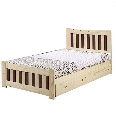 綠活居 芬斯特5尺雙人抽屜床台(二抽床底+不含床墊)-152x198x95cm-免組