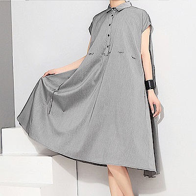 抽繩收腰2way造型領衫洋裝-(共二色)Andstyle