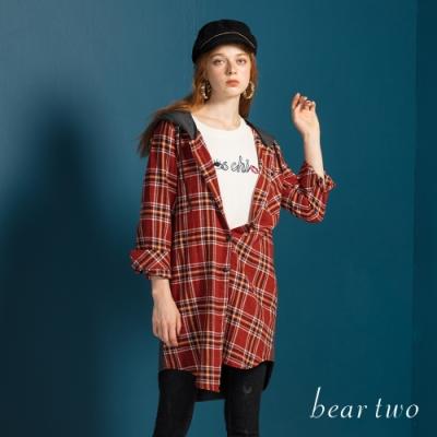 bear two- 剪接連帽格紋襯衫洋裝 - 紅