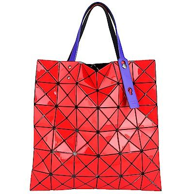 ISSEY MIYAKE 三宅一生BAOBAO跳色背帶三角方格6x6透光手提包(紅色)