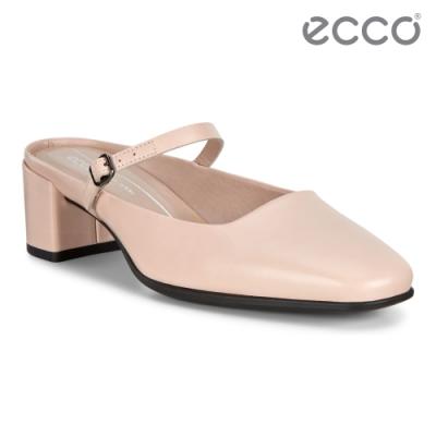 ECCO SHAPE 35 SQUARED 復古瑪莉珍方跟涼鞋 女鞋-玫瑰粉