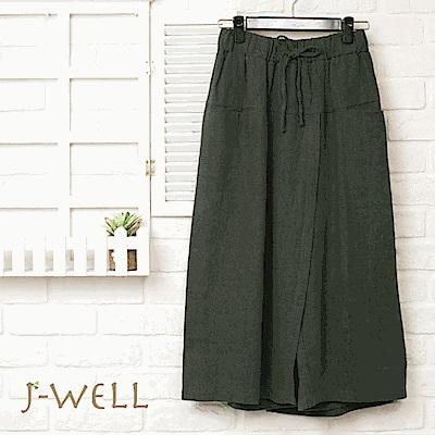 J-WELL 棉麻蝶結口袋寬褲裙