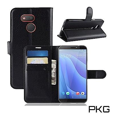 PKG HTC Desire 12S  側翻式皮套-精選皮套-經典款式-黑