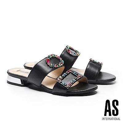 拖鞋 AS 繽紛彩鑽釦飾羊皮低跟拖鞋-黑