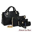 Aimer La Rue 超值五件組 時尚奢華鱷魚紋子母包(黑色)-贈小熊