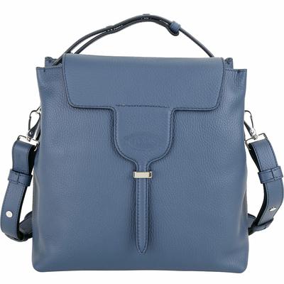 TOD'S New Joy Bag 展示品 藍色T釦翻蓋牛皮手提肩背包(提把金屬釦其一脫落)