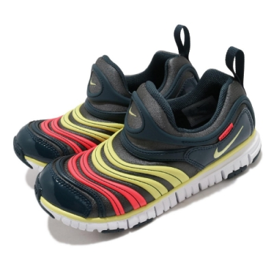 Nike 慢跑鞋 Dynamo Free 運動 童鞋 襪套 輕便 毛毛蟲 舒適 中童 穿搭 黑 黃 343738024