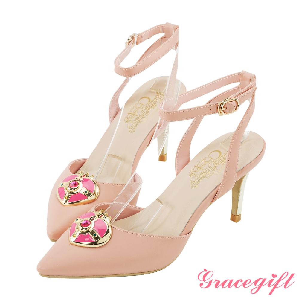 Grace gift-美少女戰士月光心鑽繫帶跟鞋 粉