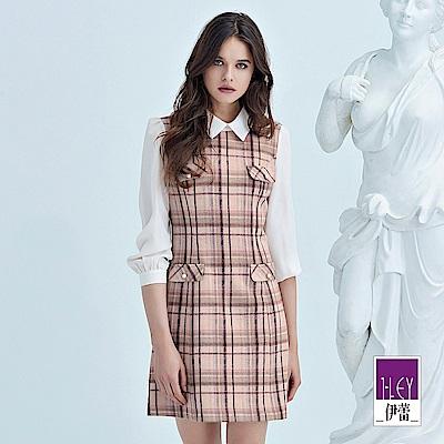 ILEY伊蕾 配色剪接混羊毛格紋假兩件洋裝(粉)