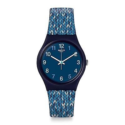Swatch TRICO BLUE 針織毛帽手錶