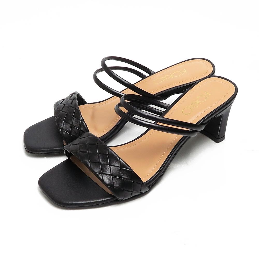 KOKKO時髦方頭編織小牛皮2WAY扁跟涼拖鞋黑色