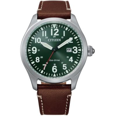 CITIZEN星辰百搭時尚光動能手錶(BM6838-25X)-綠