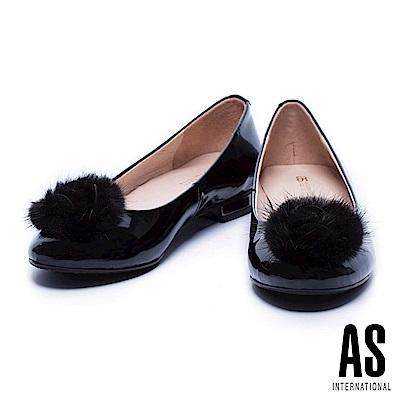 低跟鞋 AS 奢華貂毛設計牛漆皮圓頭低跟鞋-黑