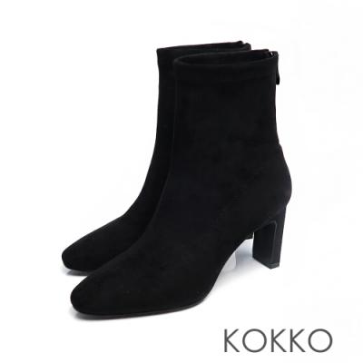KOKKO - 完美顯瘦方頭扁跟襪靴 -霧黑色