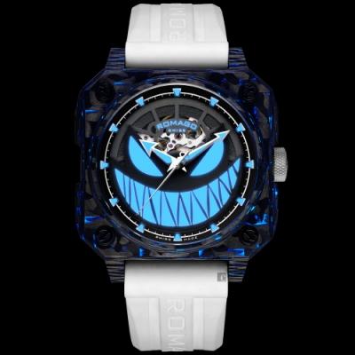 ROMAGO碳纖維馭光者系列 螢光鬼臉設計機械錶-夜光藍/46.5mm RM111-BU