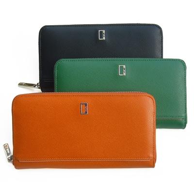 【leaper】細十字紋真皮大容量多隔層拉鏈長夾錢包 共3色
