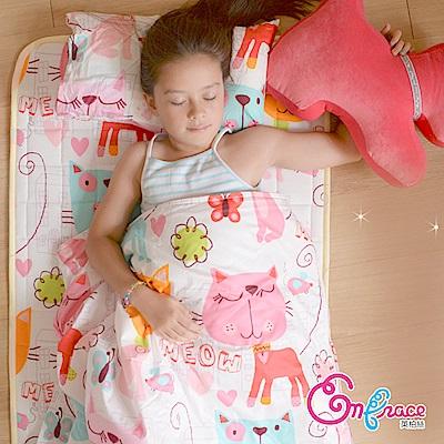 Embrace英柏絲 精選精梳棉 幼稚園必備防蹣抗菌 三件組 貓咪花園 鋪棉床墊+兩用被+小枕 睡袋