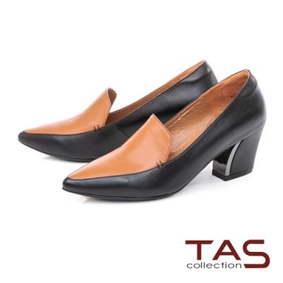 TAS撞色牛皮尖頭粗跟鞋-焦糖棕