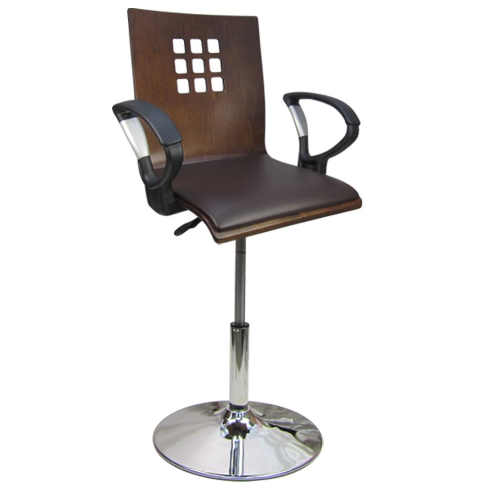 棋格曲木扶手皮墊低吧椅 洽談椅 電腦椅