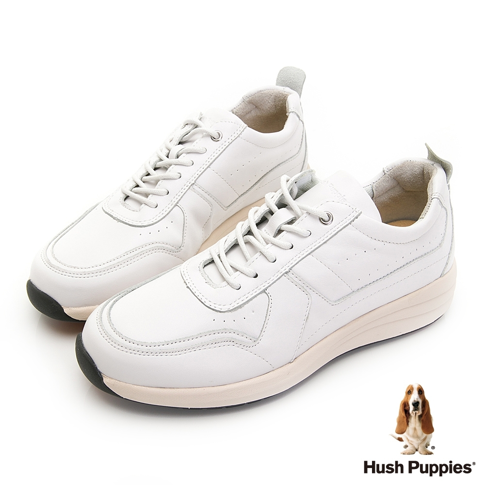 Hush Puppies 舒適俐落皮革休閒男鞋-白色