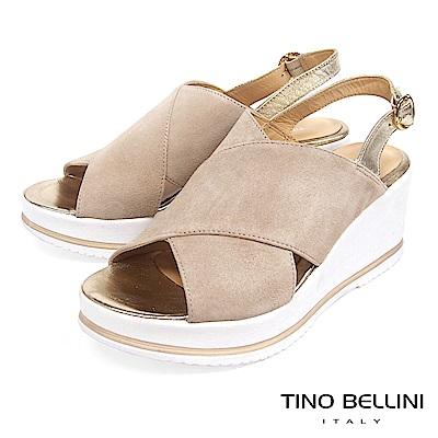 Tino Bellini 歐洲進口麂皮寬帶交叉楔型涼鞋 _ 駝