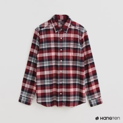 Hang Ten - 男裝 - 經典英倫配色格紋長袖襯衫 - 紅