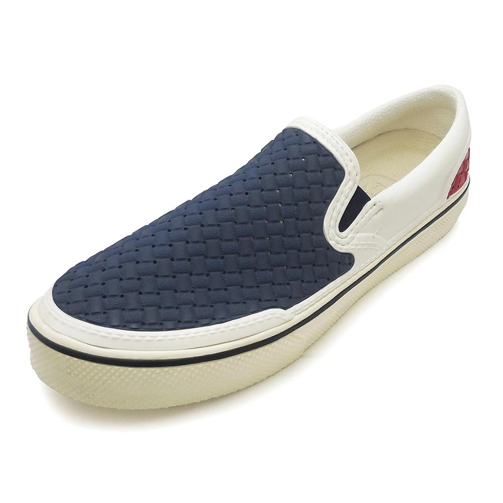 (男)Ponic&Co美國加州環保防水編織懶人鞋-藍白紅