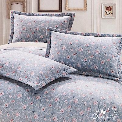 BUTTERFLY-台製40支紗純棉加高30cm薄式單人床包+單人鋪棉兩用被-玫瑰園-藍