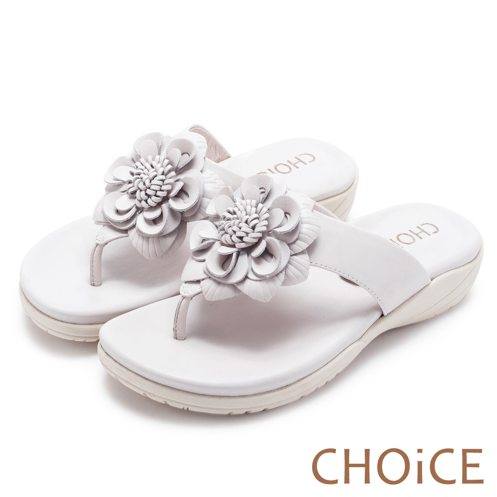 CHOiCE 親膚涼爽春意 嚴選真皮盛開花朵拖鞋-白色