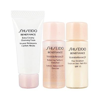 SHISEIDO資生堂 盼麗風姿抗皺24潔膚皂7ML+豐潤柔軟水7ML+日間活膚乳7M