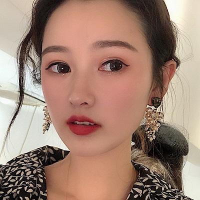 梨花HaNA 韓國貓眼綠葡萄珍珠串華麗耳環