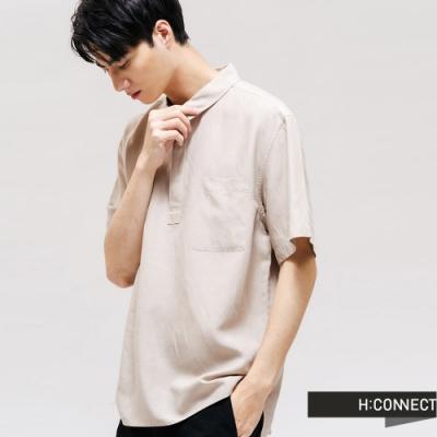H:CONNECT 韓國品牌 男裝 - 輕盈休閒短袖襯衫 - 卡其