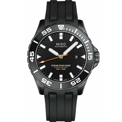 Mido美度Diver 600海洋之星深潛600米潛水腕錶-43.5mm 黑膠帶