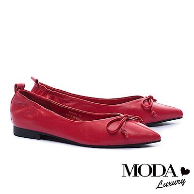 低跟鞋 MODA Luxury 極致尖楦蝴蝶結造型全真皮低跟鞋-紅