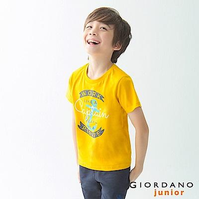 GIORDANO 童裝探索玩樂印花短袖T恤-53 一枝黃