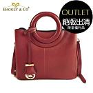 [福利品]【BAGGLY&CO】圓形提把手提側背包-大包(紅色)(絕版出清)